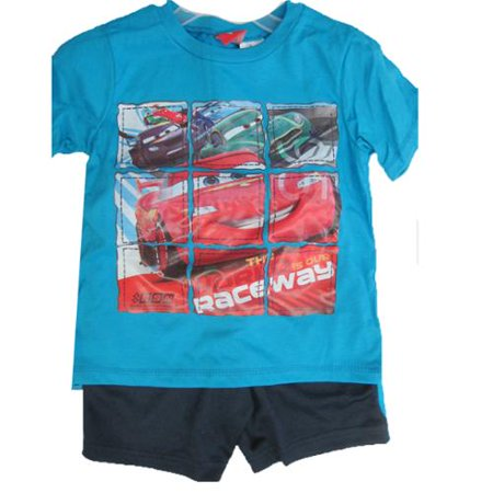 Little Boys Blue Cars Lightning McQueen Print 2 Pc Shorts Set 4-7