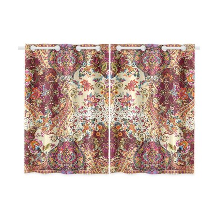 MYPOP Jacobean Floral Window Curtain Kitchen Curtain 26x39 inches (Two Piece) ()