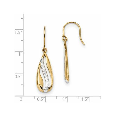 14k Yellow Gold w/Rhodium  Polished and D/C Teardrop Shepherd Hook (9.5x33.5mm) Earrings - image 1 of 2