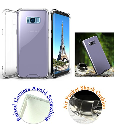"for 5.8"" Samsung Galaxy S8 Case Phone Case Hard Back Skin Raised Corner Lifted Screen & Camera Shock Bumper Slim Cover Clear"