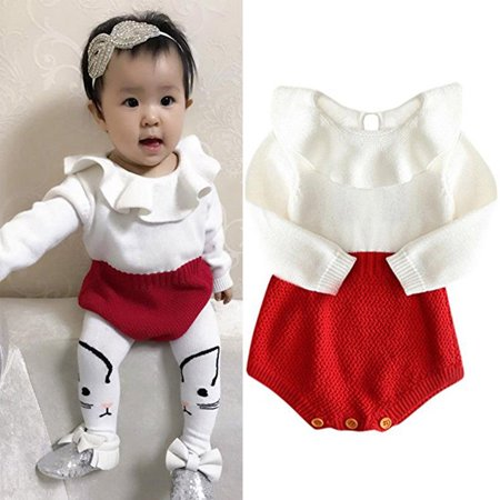 FUFUCAILLM - Newborn Kids Baby Girls Long Sleeve Wool Knit Bodysuit Romper  Jumpsuit Warm Outfits Clothes 0-24M - Walmart.com d9044892d