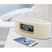 iHome Ibt31wc Bluetooth Stereo FM Clock Radio and Speakerphone with USB Charging, White