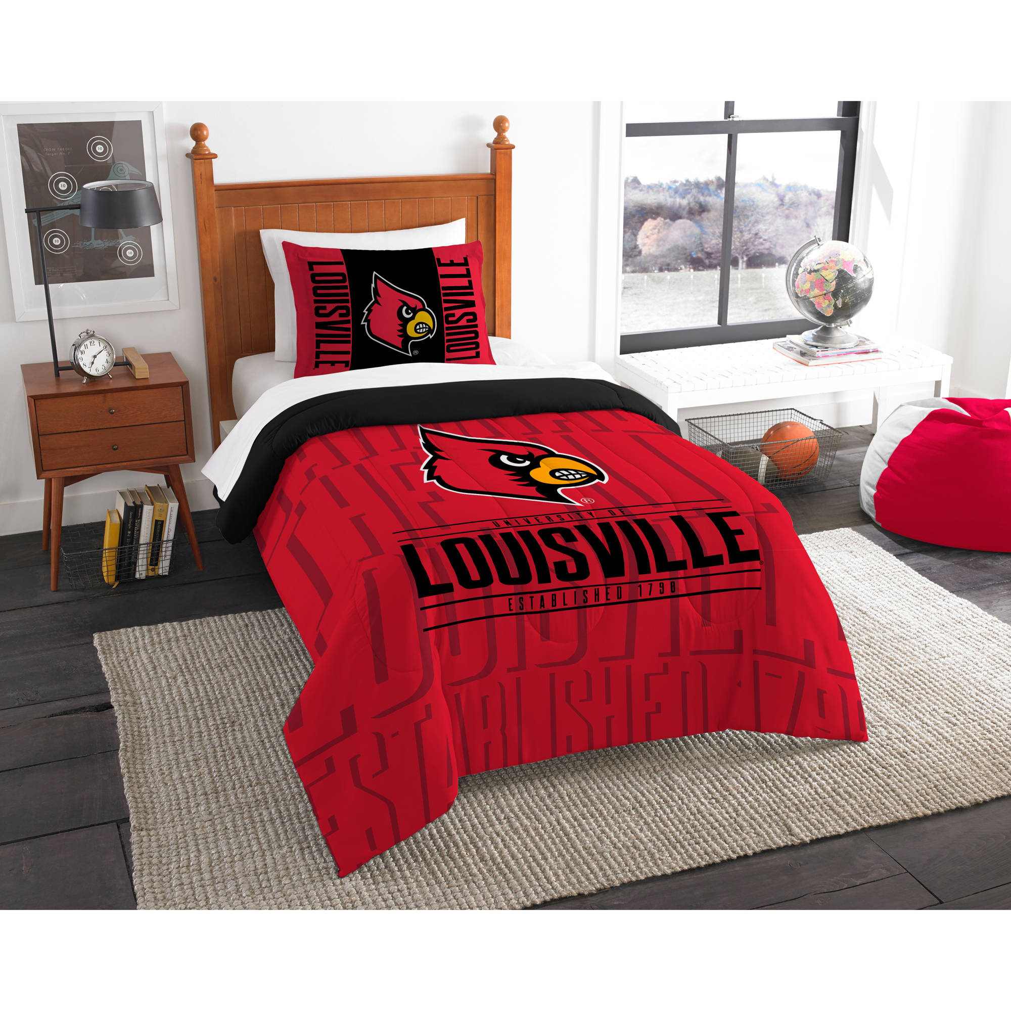 "NCAA Louisville Cardinals ""Modern Take"" Bedding Comforter Set"