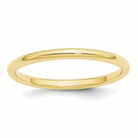 10k Yellow Gold 2mm Standard Comfort Fit Band Ring ()