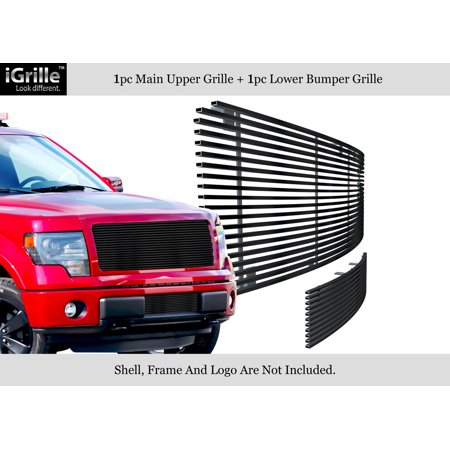 - Compatible with 2009-2014 Ford F150 Black Stainless Steel Billet Grille Upper+Lower F86614J