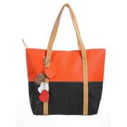 Women's Color Block Dual Handles Zippered Top Casual Tote Bags Orange