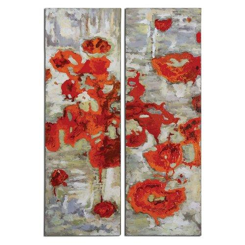 uttermost wall decor ornamental uttermost 31201 wall decor scarlet poppies home canvas art hand painted
