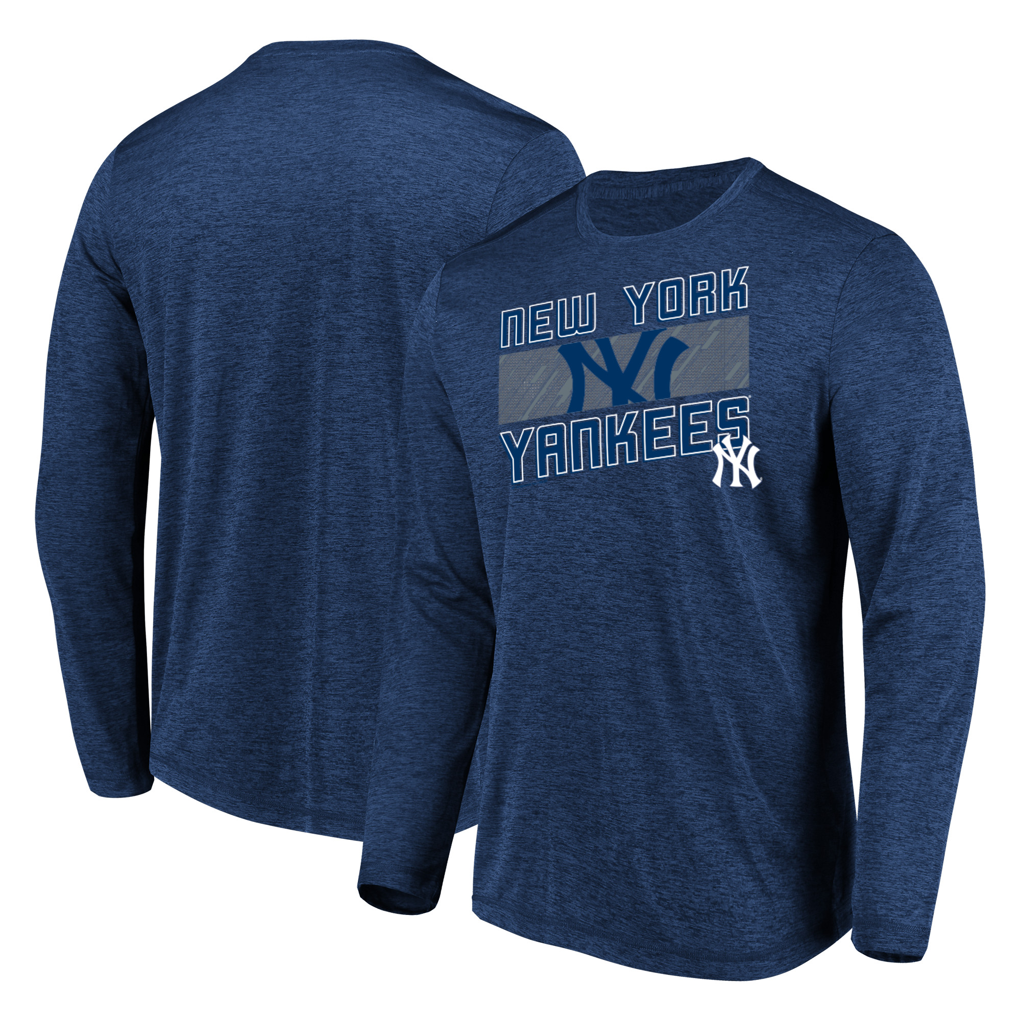 Men's Majestic Heathered Navy New York Yankees Big & Tall Long Sleeve Team T-Shirt