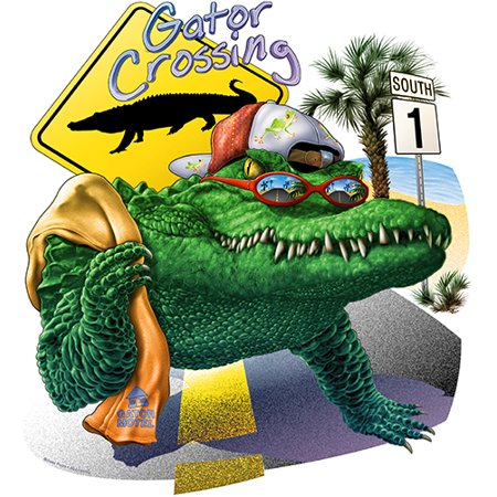 - Chill Gator Crossing Novelty Sign | Funny Home Décor Garage Wall Gag Gift