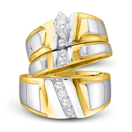 10kt Yellow Gold His & Hers Marquise Diamond Solitaire Matching Bridal Wedding Ring Band Set 1/4 (Wide Band Solitaire Diamond)