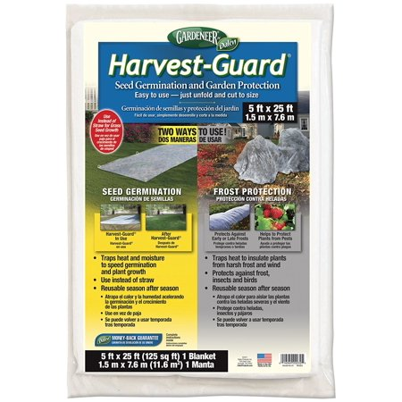 HG25 Gardeneer By Harvest-Guard Seed Germination & Frost Protection Cover 5' x 25', TWO ways to use - for seed germination and frost protection By