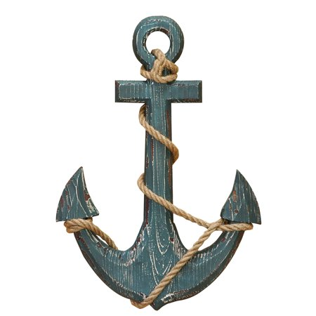 Wood Anchor With Rope Beach Nautical Decor