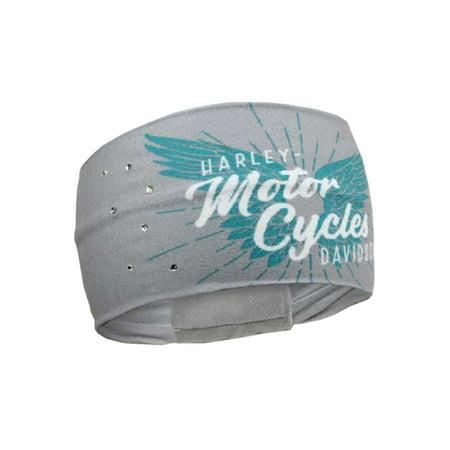 Harley-Davidson Women's Winged Script Pure Freedom Headband, Gray HP33563, Harley Davidson (Harley Quinn Headband)