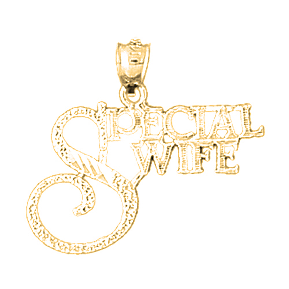 18K Yellow Gold Special Wife Pendant - 24 mm