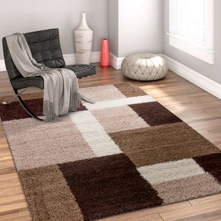 Well Woven Madison Shag Cubes Beige Brown Area Rug ()