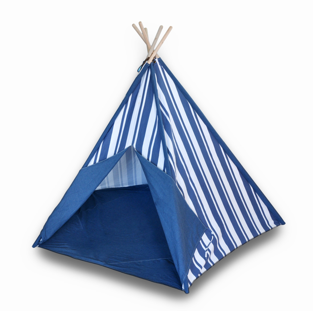 Children`s Canvas Teepee Tent Blue and White Stripes 72 In.