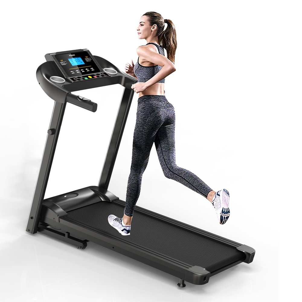 """Home Gym Smart Fitness Equipment Foldable Motorized Treadmill 5"""" LCD Display with Air Spring, Manual Incline, MP3"""