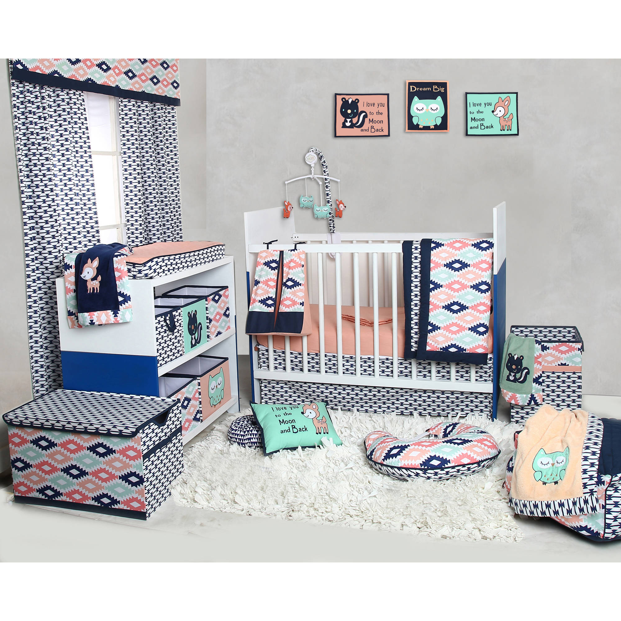 Completely new Bacati - Emma Aztec Coral/Mint/Navy 10-Piece Nursery in a Bag Crib  DK03