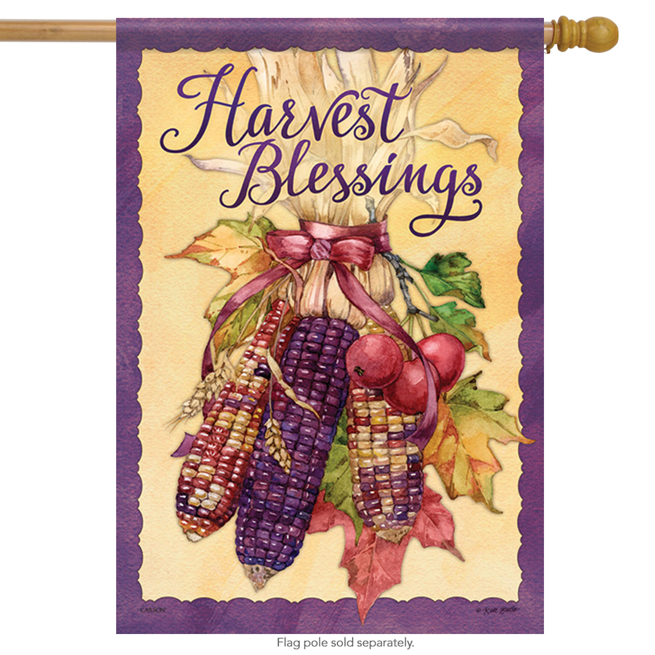 "Harvest Corn Fall House Flag Blessing Autumn Thanksgiving Leaves  28"" x 40"""