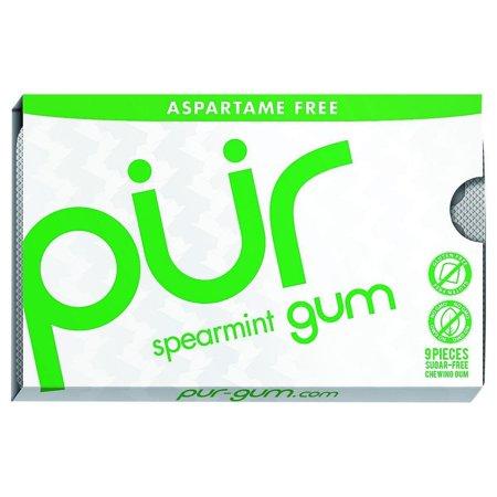 PUR Gum, Aspartame Free Spearmint Gum, 9pcs, 12ct ()