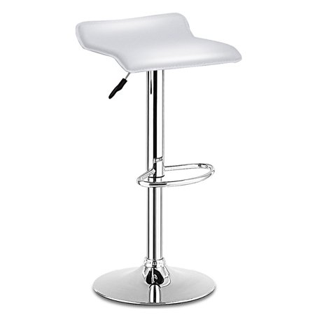 Costway 1 PC Swivel Bar Stool Adjustable Modern Leather Dinning Counter Chair White ()