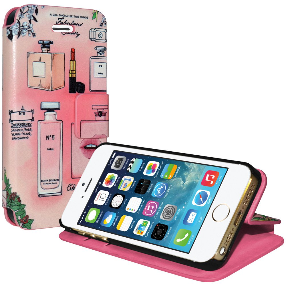 Designer Wallet Case Flip Cover with Credit Card ID Slot for Apple iPhone 5, iPhone 5S, iPhone SE - A Girl Should Be Two Things