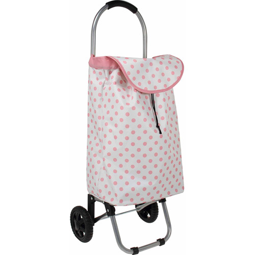 Household Essentials Rolling Shopping Cart, Pink Dots
