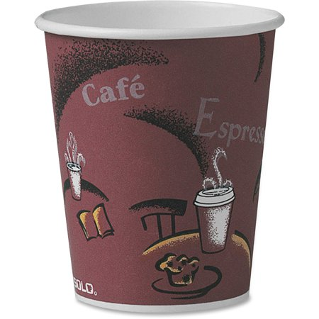 Hot Chick Solo (Solo, SCCOF10BI0041, Single Sided Paper Hot Cups, 300 / Carton, Maroon, 10 fl)