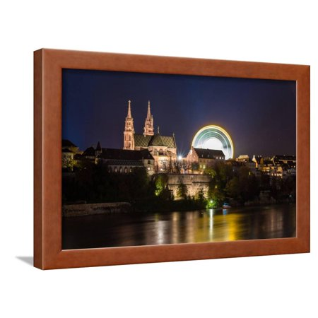 Basel Minster over the Rhine by Night - Switzerland Framed Print Wall Art By Leonid (Over The Rhine Darkest Night Of The Year)