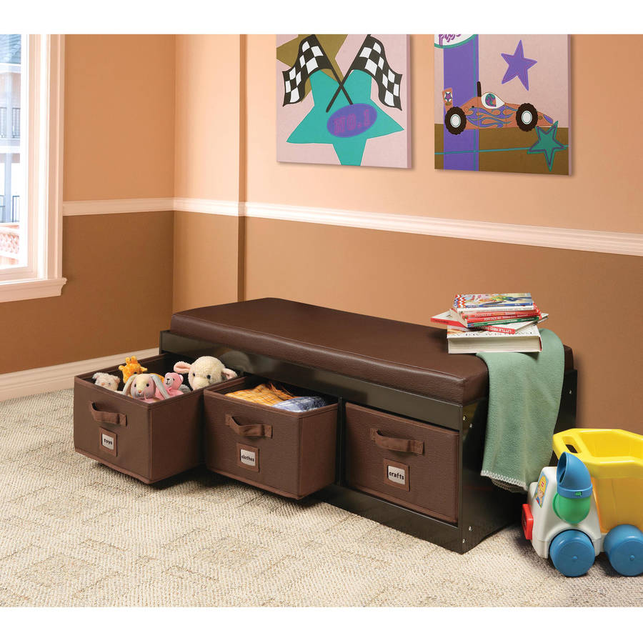 Badger Basket Kid's Storage Bench with Cushion and 3 Bins, Espresso