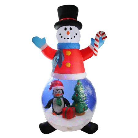 LB International Christmas 6' Pre-lit Inflatable Snowman and Penguin Globe Outdoor Decoration