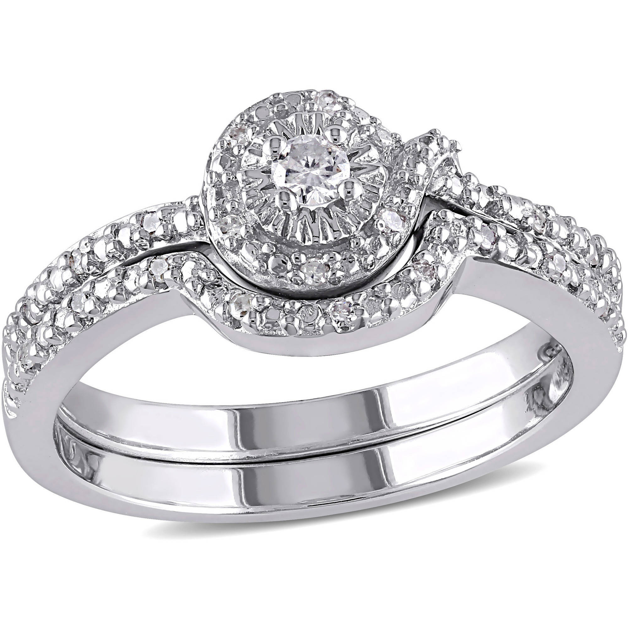Miabella 1/7 Carat T.W. Diamond Sterling Silver Loop-Style Bridal Set