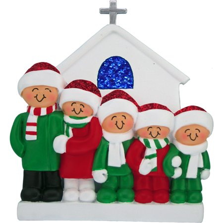 Family at Church 5 People Personalized Christmas Ornament DO-IT-YOURSELF