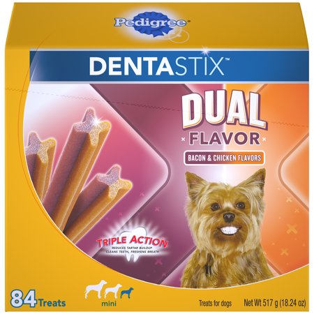 - Pedigree Dentastix Dual Flavor Small Dog Treats, Bacon & Chicken Flavors, 18.24 Oz. (84 Treats)