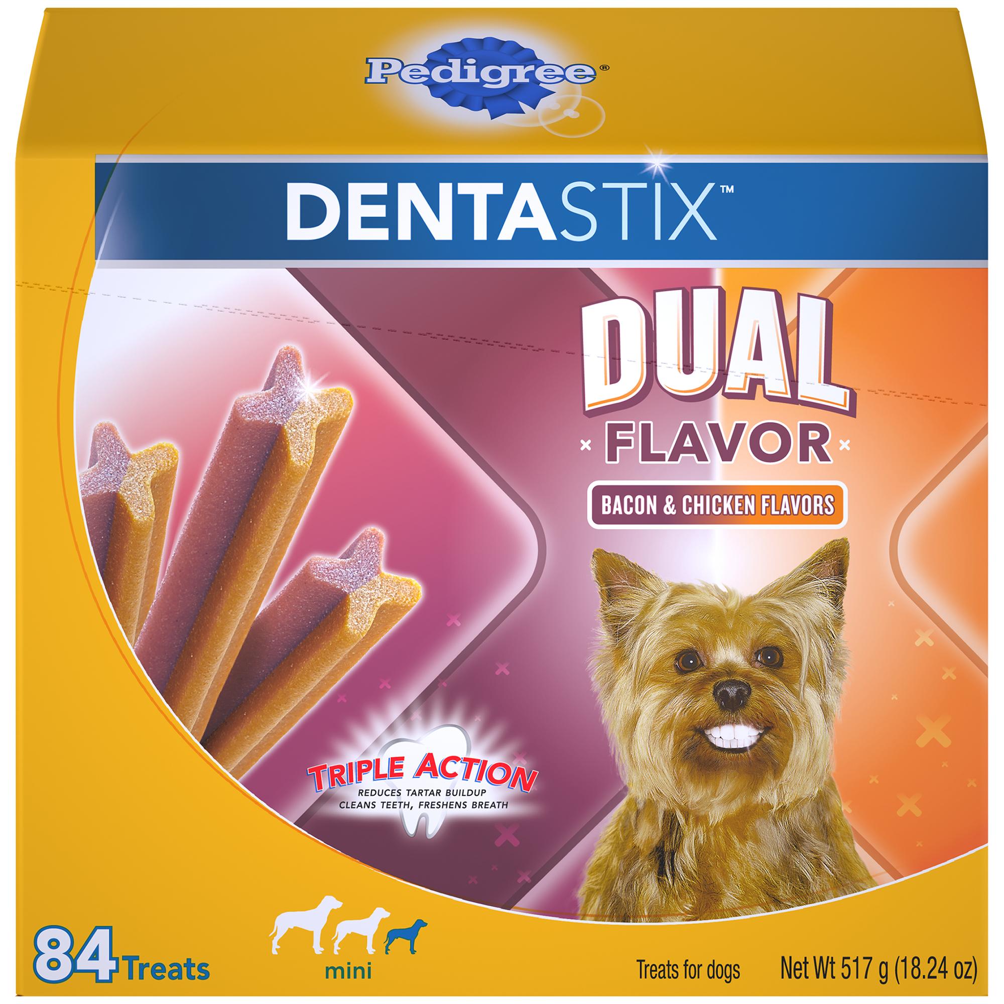 Pedigree Dentastix Dual Flavor Small Dog Treats, Bacon & Chicken Flavors, 18.24 oz. Pack (84 Treats)