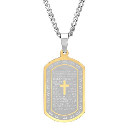 Men's Two-Tone Stainless Steel Lord's Prayer Dog Tag with 24