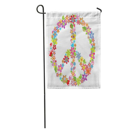 KDAGR 70S Peace Flower Symbol Love Power Sign Floral Clipart Circle Garden Flag Decorative Flag House Banner 28x40 inch](70s Flower Power Fashion)
