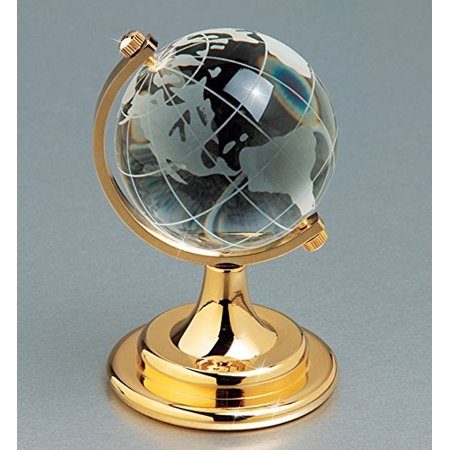 3 Crystal Globe (Etched Crystal World Globe On Stand A Brass Colored Base - Gift Boxed - 4 Inch )
