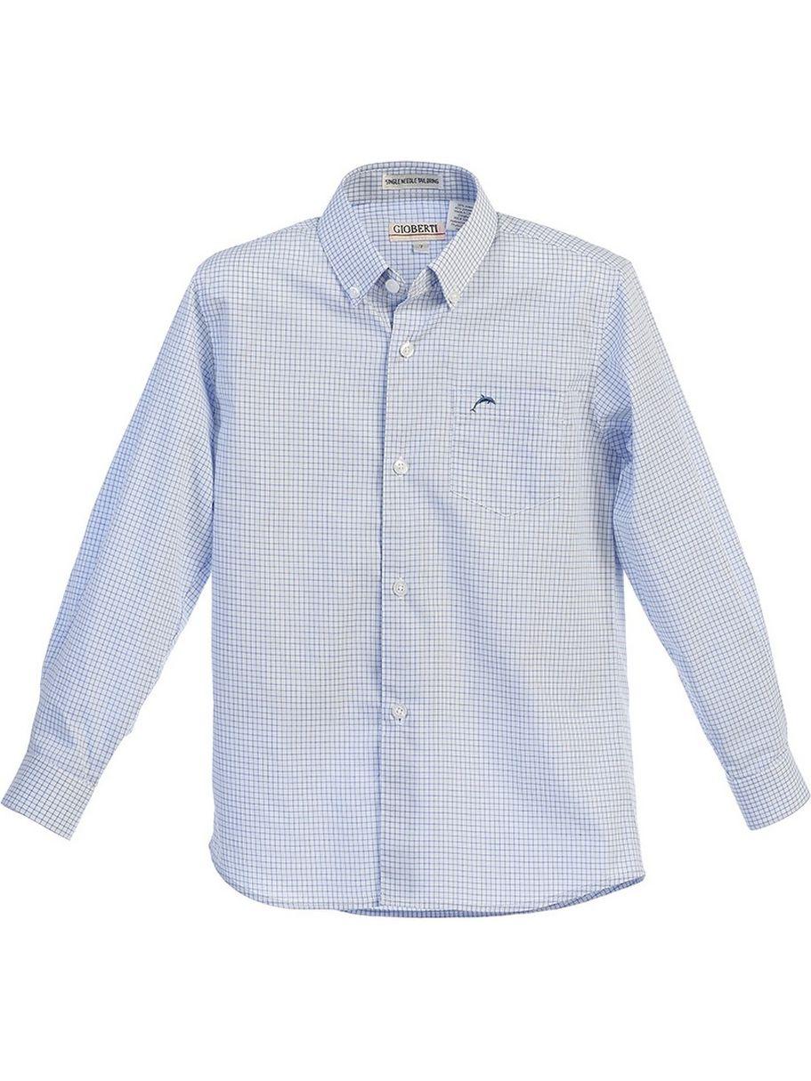 B One Gioberti Boys White Blue Plaid Button Up Long Sleeve Dress