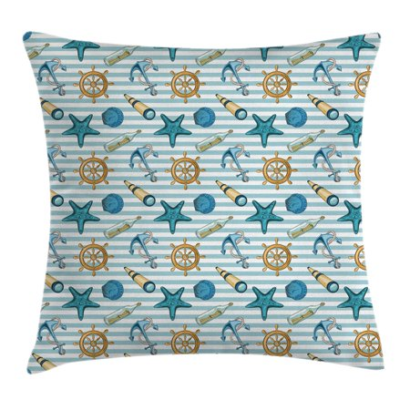Nautical Decor Throw Pillow Cushion Cover, Marine Sea Striped Background with Anchor Wheel Starfish Seashell Figures, Decorative Square Accent Pillow Case, 18 X 18 Inches, Blue Apricot, by Ambesonne