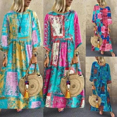 Plus Size Women Boho Cotton Linen Long Maxi Dress Long Sleeve Maxi Beach Dress Casual Boho Kaftan Tunic Gypsy Ethnic Yellow Cotton Dress