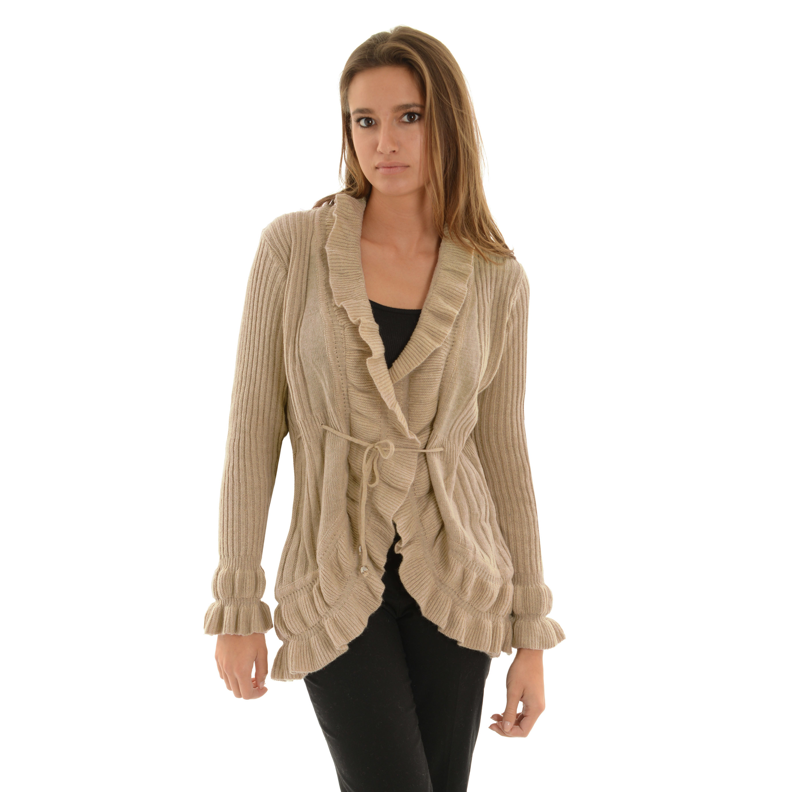 Womens Open Front Cardigan Tan Ribbed Sweater Ruffle Trim Tie Belt ...