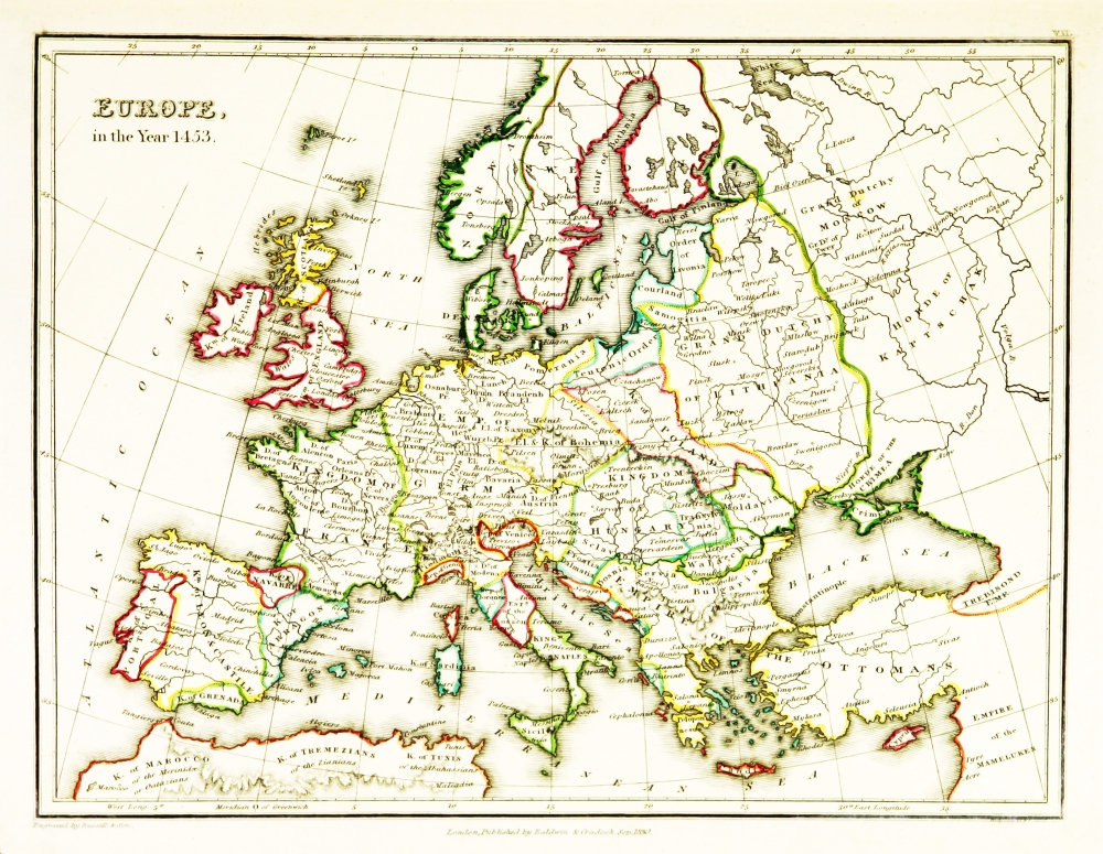 Europe Map After Fall Of Constantinople 1453 Poster Print By Science