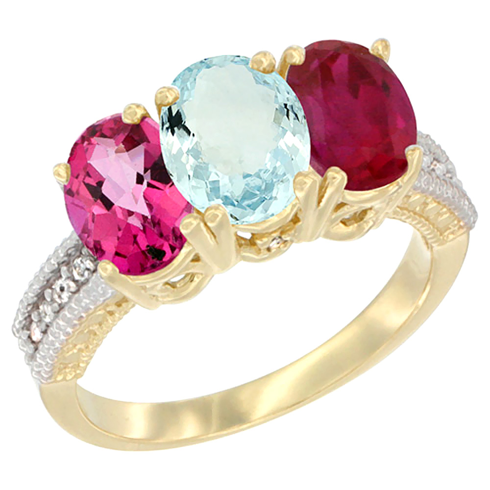10K Yellow Gold Diamond Natural Pink Topaz, Aquamarine & Ruby Ring 3-Stone Oval 7x5 mm, sizes 5 10 by WorldJewels