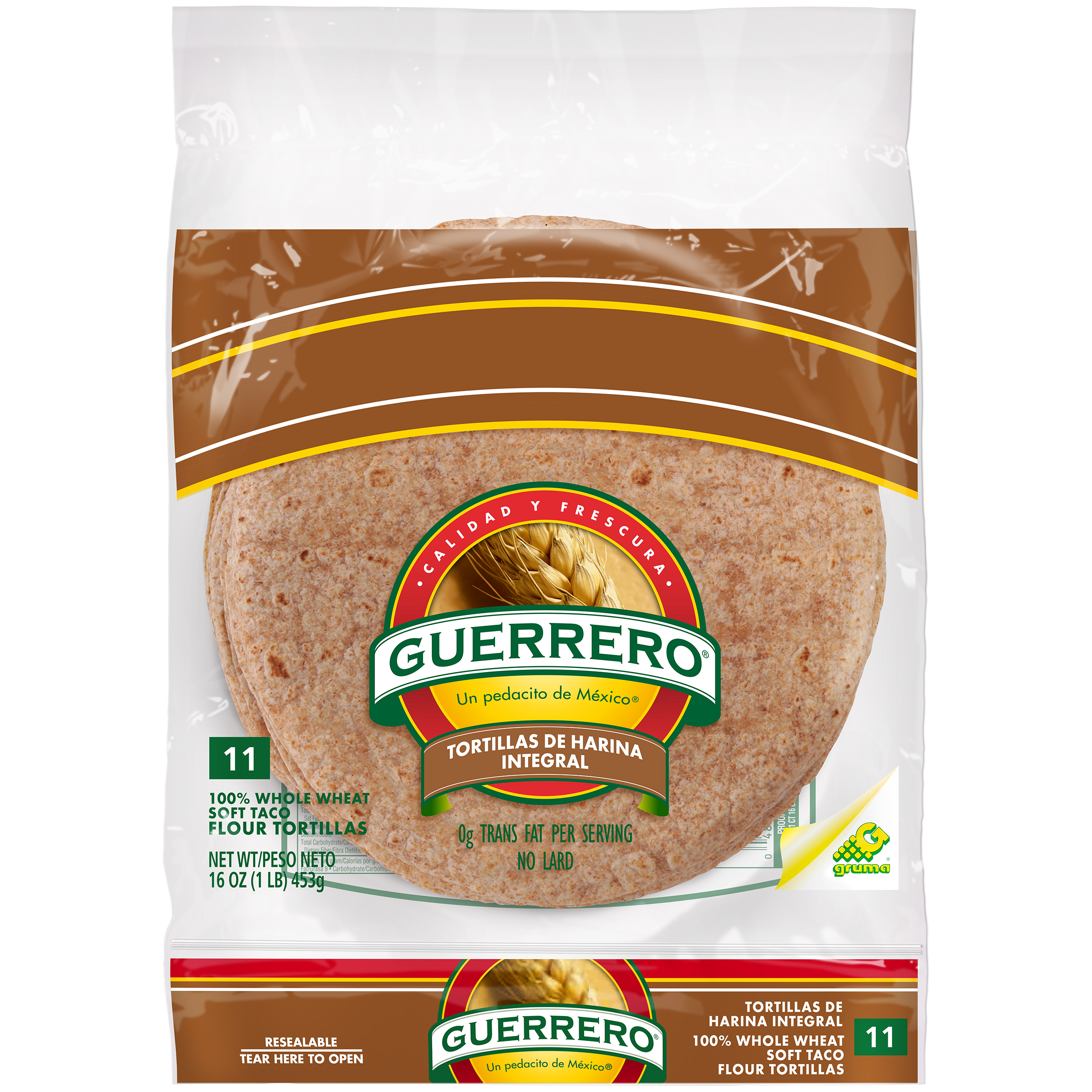 Guerrero® 100% Whole Wheat Soft Taco Flour Tortillas 16 oz. Bag
