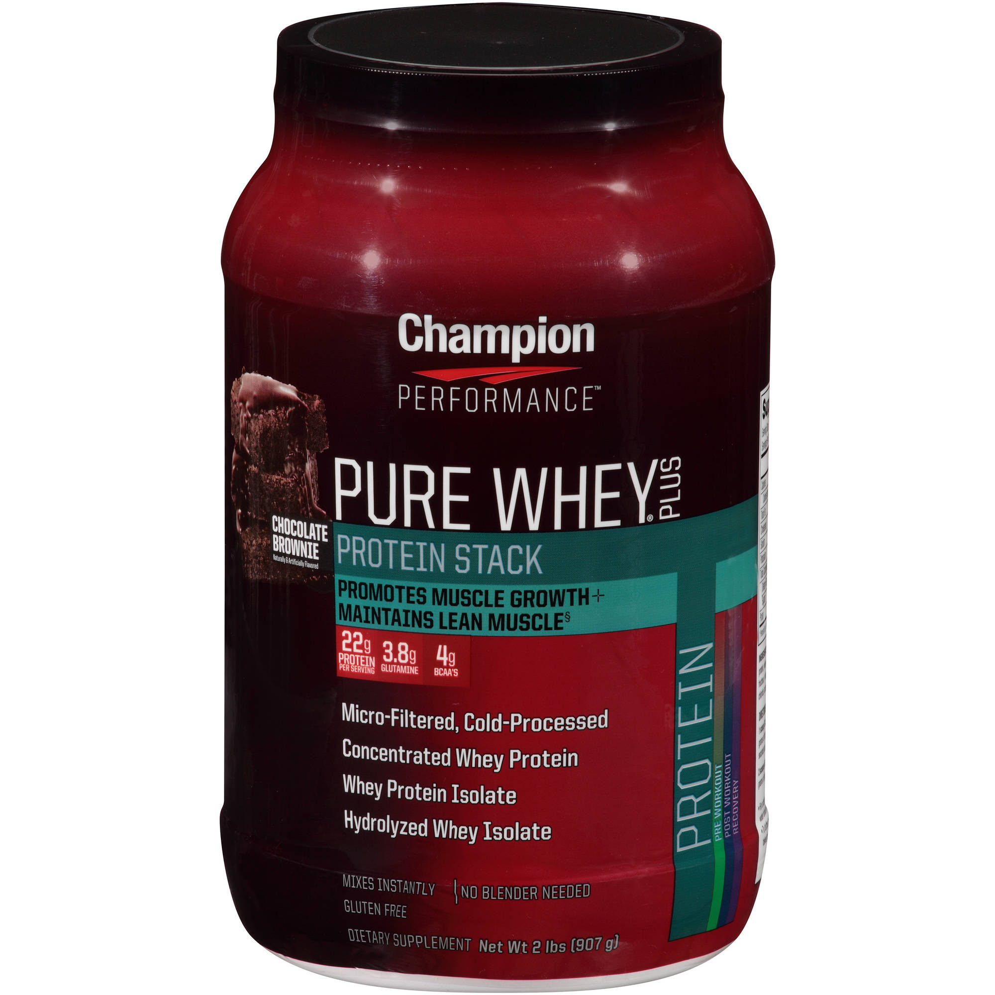Champion Performance Chocolate Brownie Pure Whey Plus Protein Stack Dietary Supplement, 2 lbs