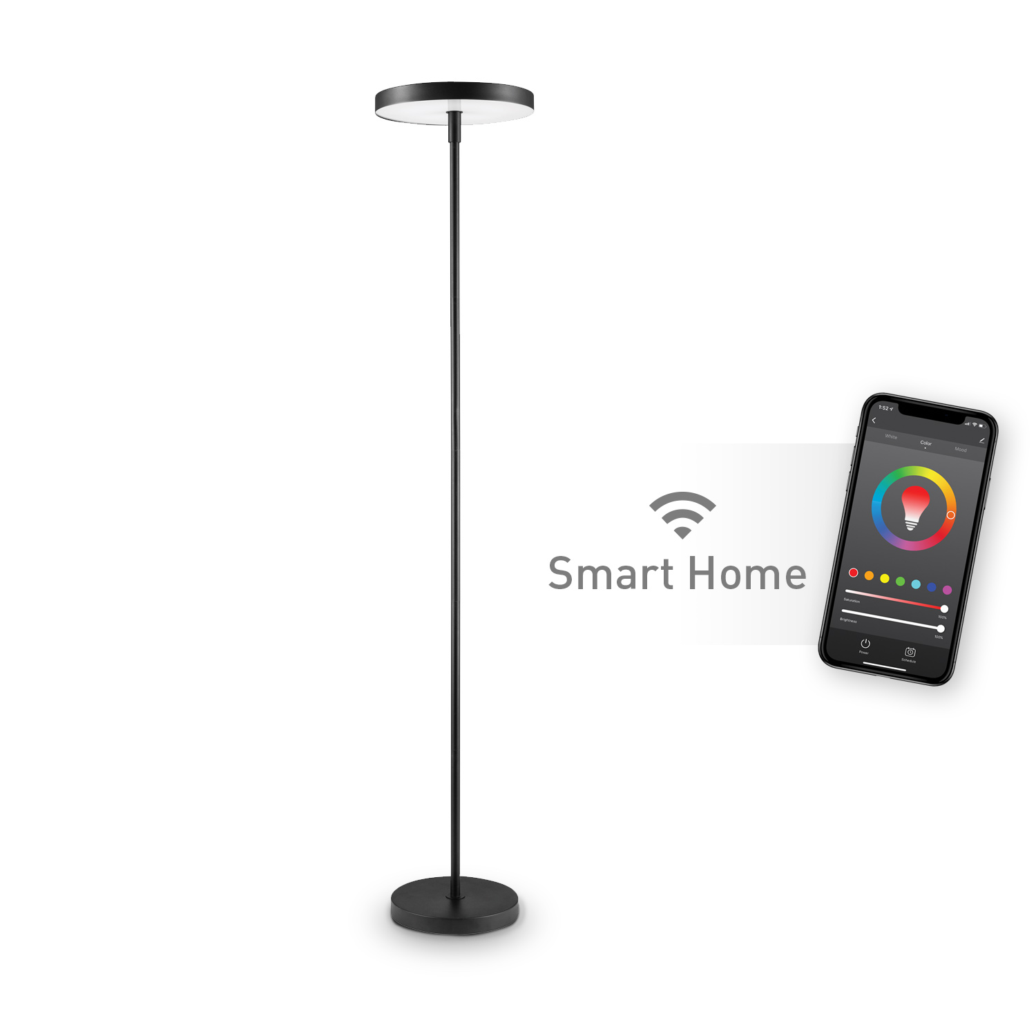 Globe Electric Wi Fi Smart Black Multicolor Changing Rgb Tunable White Led Integrated Floor Lamp
