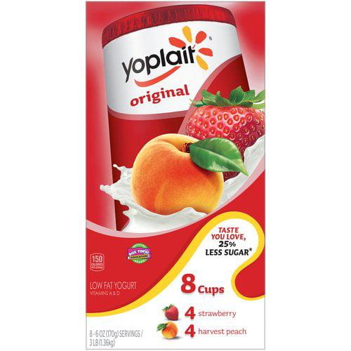 Yoplait Original Yogurt Variety Pack of Strawberry and Harvest Peach 8 - 6.0 oz Cups