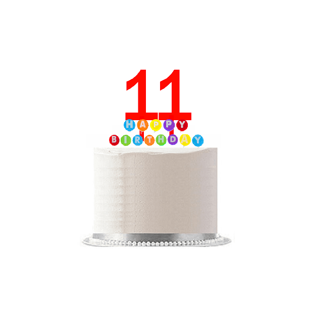 Item#011WCD - Happy 11th Birthday Party Red Cake Topper ...