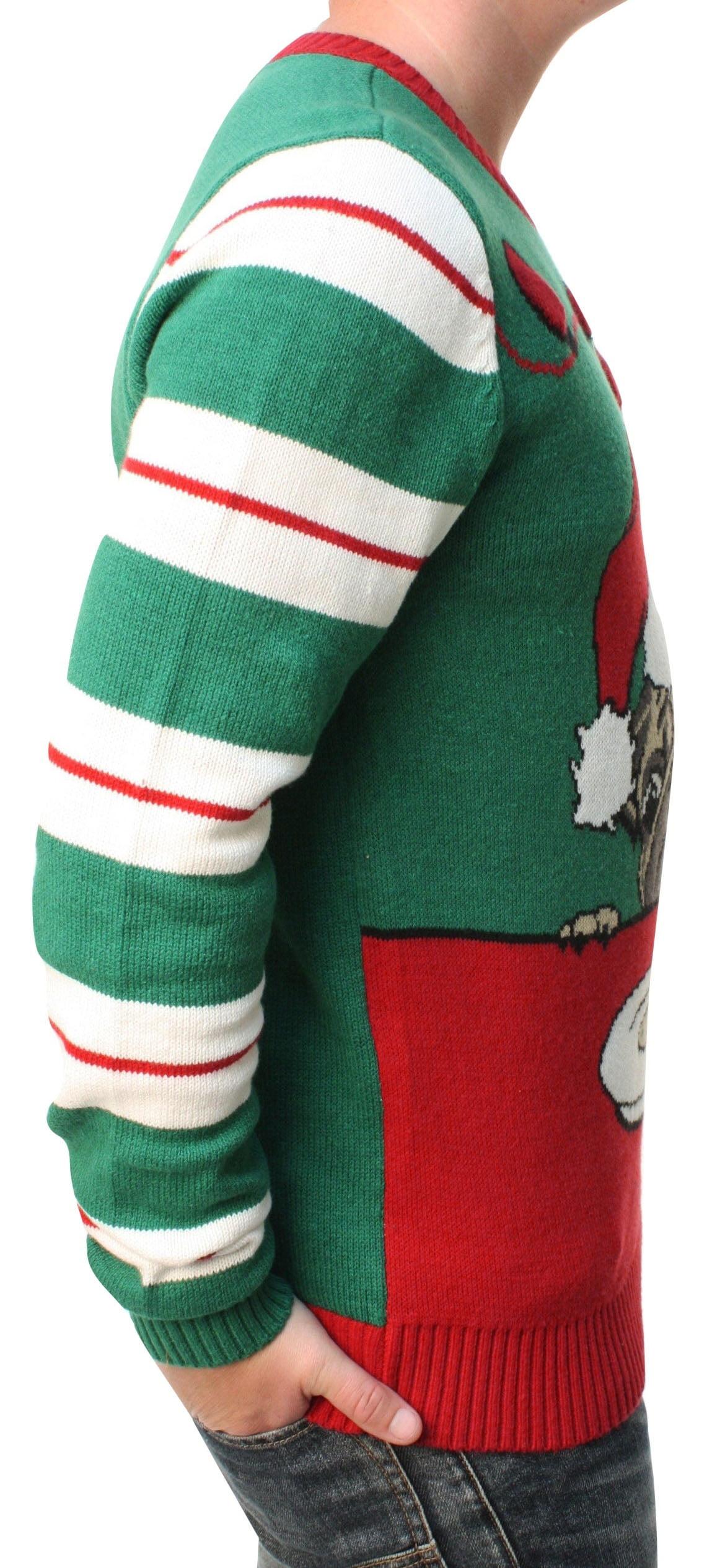 Ugly Christmas Sweater Men's Pug Cookies Light Up Pullover Sweatshirt